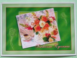 "Poland 1999 Postcard """"flowers Roses"""" To England - Country Estates Oblegorku And Bronowicach - Poland"