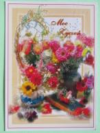 "Poland 1999 Postcard """"flowers"""" To England - Country Estates Bronowicach - Poland"