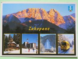 """Poland 1999 Postcard """"""""Zakopane Mountains Arms Hotel Tramway Ski"""""""" To England - Country Estates Bronowicach - Poland"""
