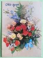 "Poland 1999 Postcard """"flowers Roses"""" Puck To England - Country Estates Bronowicach - Poland"