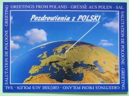 """Poland 1999 Postcard """"""""Earth Globe With Poland Map"""""""" Zukow To England - Country Estates Kuznocinie - Poland"""