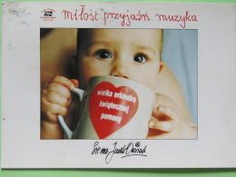 "Poland 1999 Postcard """"kid With Mug Drinking"""" Legionowo To England - Country Estates Kuznocinie - Poland"