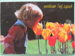 """Poland 1999 Postcard """"""""kid Or Girl Smelling Tulip Flowers"""""""" Katowice To England - Pinecones Pinus - Zodiac Taurus - Coun - Poland"""