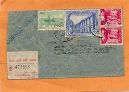 Perum 1953 Cover Mailed Registered - Peru