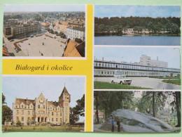 """Poland 1999 Postcard """"""""Bialogard Church Rock River Car """""""" To England - Country Estates Bronowicach (x4) - Poland"""