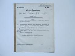 Gesetz Sammlung Für Das Königreich Hannover 1857 / 1866. Königl. Hannoversches Finanz Ministerium - Decrees & Laws