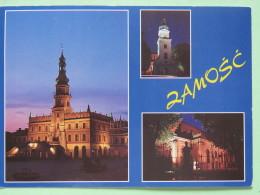 "Poland 1999 Postcard """"Zamosc Cathedral"""" To England - Country Estates Bronowicach - Zodiac Sagittarius With Bow And Mot - Poland"
