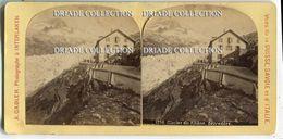 FOTO STEREOSCOPICA GLACIER DU RHONE RIFUGIO HOTEL BELVEDERE SVIZZERA PHOTO INTERLAKEN VUES SUISSE SAVOIE ITALIE 1892 - Stereoscopi