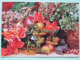 """Poland 1999 Postcard With High Franking """"""""flowers Fruits Apple Cherries Hazelnut"""""""" Bydgoszcz To England - Zodiac Caprico - Poland"""