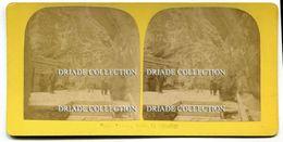 FOTO STEREOSCOPICA BAD PFAFERS ENDE TAMINA SCHLUCHT QUELLE ST. GALLEN SVIZZERA ANNO 1892 - Stereoscopi