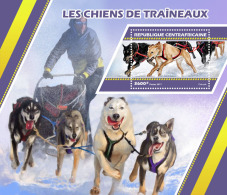CENTRAL AFRICA 2017 ** Sledge Dogs Schlittenhunde Huskies S/S - OFFICIAL ISSUE - DH1727 - Other Means Of Transport