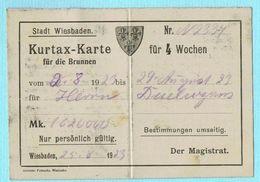 CARTE TAXE DE SÉJOUR VILLE DE WIESBADEN ALLEMAGNE 1923 - Sports & Tourism