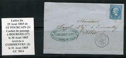 FRANCE- Lettre Du 29 Aout 1865 De ST POURCAIN (3) Pour COMMENTRY (3)-Y&T N°22- GC 3824 - 1849-1876: Classic Period