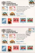 2 Encarts - FDC - International Year Of The Child - KURT WALDHEIM - Genève - New York - 1979 - APNU - Emissions Communes New York/Genève/Vienne