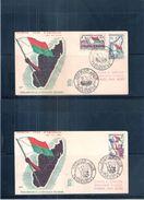 2 FDC - Madagascar - Proclamation De La République Malgache - 1959 - Storia Postale