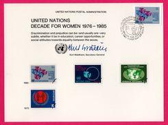 3 Encarts - FDC - United Nations Decade For Women 1976-1985 - KURT WALDHEIM - New York - Genève - Wien 1980 - APNU - Emissions Communes New York/Genève/Vienne