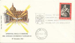 Vatican FDC 29-9-1963 Apertura Della II Sessione Del Consilio Ecumenico Vaticano II With Cachet - FDC