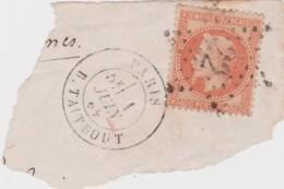 Bg - Sur Fragment : N° 31 - 40c Napoleon Lauré Oblitéré étoile 22 - Cachet Paris - R Taitbout - 1849-1876: Période Classique
