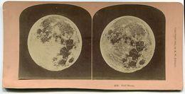 FOTO STEREOSCOPICA FULL MOON ANNO 1891 LUNA PIENA PHOTO B. W. KILBURN LITTLETON , N. H. - Stereoscopi