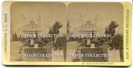 FOTO STEREOSCOPICA EXPOSITION UNIVERSELLE PARIS ANNO 1878 PALASI DU TROCADERO - Stereoscopi
