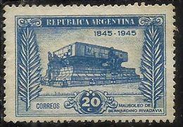 ARGENTINA 1945 Bernardino Rivadavia MAUSOLEUM CENT. 20c MNH - Nuovi