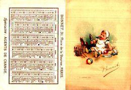 Calendrier De Poche, 1899 1er Semestre, Bonnet Agent De Change Paris, Bébé Jouets - Calendriers