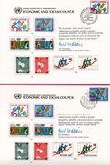 5 Encarts - FDC - Economic And Social Council - KURT WALDHEIM - New York - Genève - New York 1980  - APNU - Emissions Communes New York/Genève/Vienne