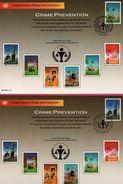 3 Encarts - FDC - United Nations P. A. - Crime Prevention - JAVIER PEREZ - Wien New York Genève 1990 - APNU - Emissions Communes New York/Genève/Vienne