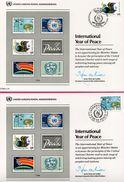 3 Encarts - FDC - United Nations P. A. - International Year Of Peace - Wien - New York Genève 1986 - APNU - Emissions Communes New York/Genève/Vienne