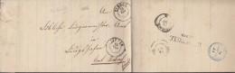 Faltbrief Von Singen (K2) 13.SEP(1866) Nach Ludwigshafen (K2) 14.SEP., Weitere St: Radolfzell, Stockach, Bahnpost - Germania