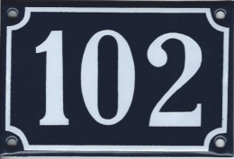 Plaque émaillée Rue 102 - Plaques émaillées (après 1960)