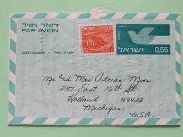 Israel 1971 Stationery Aerogramme Natanya To USA - Bird - Lanscape Negev - Israël