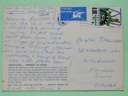 "Israel 1975 Postcard """"Jerusalem Mosque Of Omar"""" To England - Flying Deer Label - Tractor - Israël"