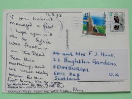 "Israel 1993 Postcard """"Jerusalem - View Of The Old City - Church - Bell"""" To Scotland U.K. - Bird - Monument - Israel"
