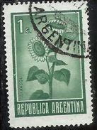 ARGENTINA 1972 1975 FLORA SUNFLOWER GIRASOL GIRASOLE CENT. 1c USATO USED OBLITERE' - Argentina