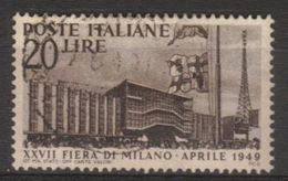 1949 - 27a Fiera Di Milano - Sassone N.598 - 6. 1946-.. Repubblica