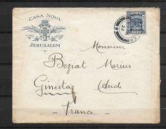 LETTRE DE PALESTINE 27.12.1922 SUR PAPIER A EN TETE CASA NOVA OBL JERUSALEM-TEXTE FETES DE NOEL 1922-VERSO MAL OUVERT - Palestina