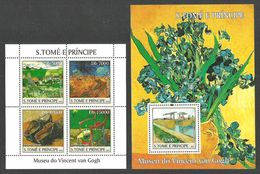 ST THOMAS AND PRINCE 2004 ART PAINTINGS VAN GOGH FLOWERS IRISES 2 M/SHEETS MNH - Sao Tome And Principe