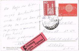 25172. Postal Urgente Expres GENEVE (Suisse)  1961 A Barcelona - Suiza