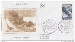 Enveloppe  FDC  1er  Jour   ANDORRE   La  Premiére  Diligence    1999 - Diligences