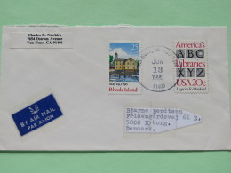 USA 1990 Cover Van Nuys To Denmark - Rhode Island - Libraries - Alphabet - United States