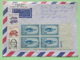 USA 1990 Cover Greenbelt To Berlin - Sitting Bull - Omnibus - Stagecoach - Washington Statue Of Freedom - Nummer Plate B - Lettres & Documents