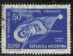 ARGENTINA 1965 AIR MAIL POSTA AEREA CORREO AEREO SPACE RESEARCH 50p USATO USED OBLITERE' - Luftpost