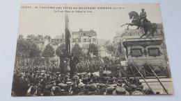 ROUEN 76 M Fallieres Fetes Millenaire Normand 911 1911 Foul Place Hotel Ville CPA Postcard Animee - Rouen