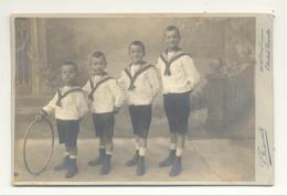 """Photo Sur Carton ( Gd Modèle) 4 Garçons En Costume Marin, Mode,.. ( Peut-être """" Les Dalton """" Lol) Nom Au Verso (b210) - Identified Persons"""