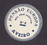 étiquette D'hôtel Originale Autocollante (années 30-40) - HOTEL PENSAO EUROPA AVEIRO PORTUGAL - Etiquetas De Hotel