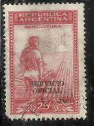ARGENTINA 1938 1954 OFFICIAL STAMPS SERVICIO OFICIAL AGRICULTURE CENT. 25c USATO USED OBLITERE' - Servizio