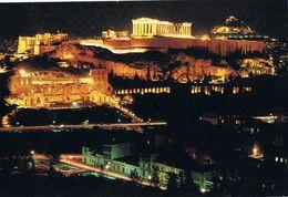 25182. Postal  ATENAS (Grecia) Vista Nocturna De La Acropolis - Grecia