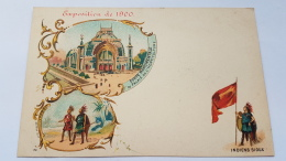 EXPOSITION 1900 INDIENS SIOUX Porte Monumentaire Palais Horticulture CPA Postcard Animee - Geschiedenis