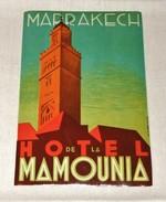 ETIQUETA HOTEL DE LA MAMOUNIA MARRAKECH    Hotel De La Mamounia Marrakech Tag For Luggage - Etiketten Van Hotels
